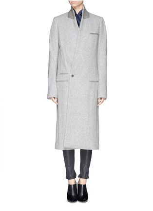 Main View - Click To Enlarge - Haider Ackermann - Extra long slant front wool blend coat