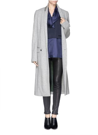 Figure View - Click To Enlarge - Haider Ackermann - Extra long slant front wool blend coat