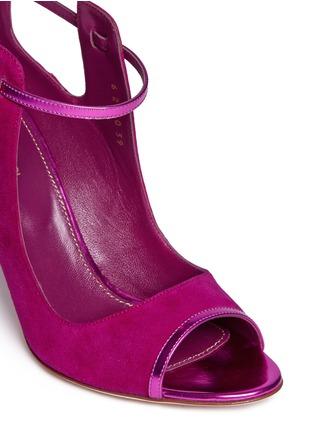 Detail View - Click To Enlarge - SERGIO ROSSI - 'Emperor' metallic trim suede cutout booties