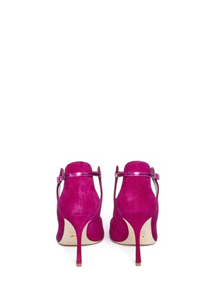 Back View - Click To Enlarge - SERGIO ROSSI - 'Emperor' metallic trim suede cutout booties