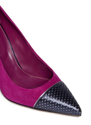 Detail View - Click To Enlarge - SERGIO ROSSI - Cutout leather toe cap suede pumps