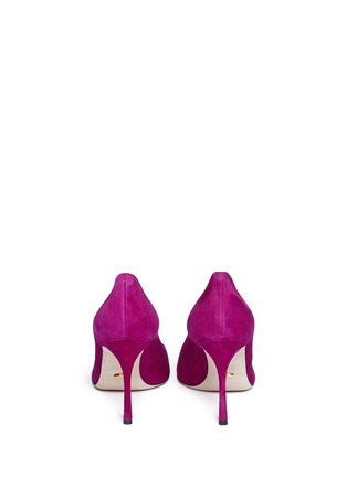 Back View - Click To Enlarge - SERGIO ROSSI - Cutout leather toe cap suede pumps