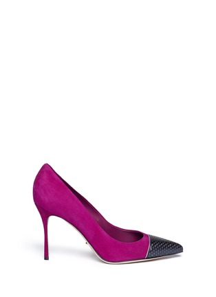Main View - Click To Enlarge - SERGIO ROSSI - Cutout leather toe cap suede pumps