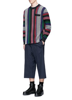 Sacai Windowpane check embroidered wide leg cropped pants