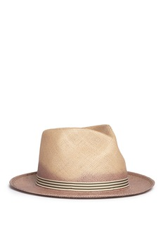 My Bob 'City Overdyed' stripe ribbon straw fedora hat