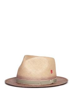 My Bob'City Overdyed' stripe ribbon straw fedora hat