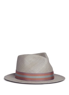 My Bob '24 Hours' stripe ribbon band straw fedora hat