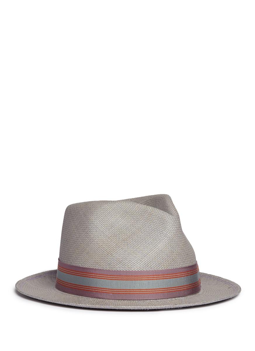 24 Hours stripe ribbon band straw fedora hat by My Bob