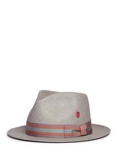 My Bob'24 Hours' stripe ribbon band straw fedora hat