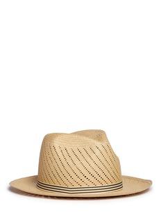 My Bob'Picnic' stripe band cutout straw fedora hat