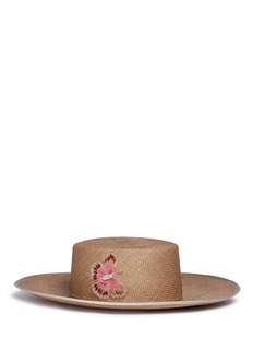 My Bob 'Sevillana' butterfly appliqué straw boater hat
