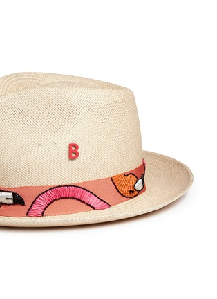 Detail View - Click To Enlarge - My Bob - '24 Hours' flamingo embroidery straw fedora hat