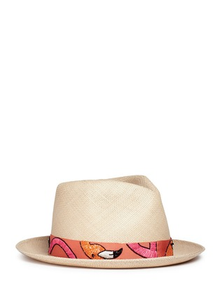 Main View - Click To Enlarge - My Bob - '24 Hours' flamingo embroidery straw fedora hat