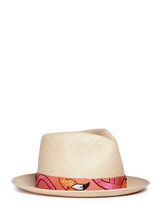 My Bob '24 Hours' flamingo embroidery straw fedora hat