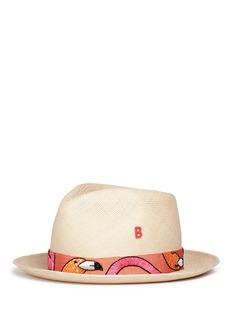 My Bob'24 Hours' flamingo embroidery straw fedora hat