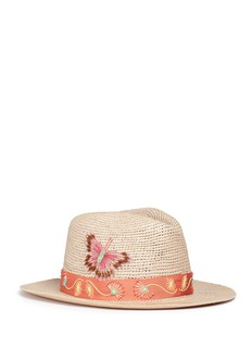 My Bob 'Fedora Hippie' butterfly floral embellished straw hat