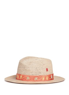 My Bob'Fedora Hippie' butterfly floral embellished straw hat