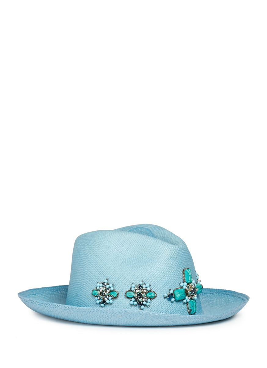 Floral embellished straw fedora hat by My Bob