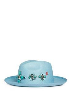 My BobFloral embellished straw fedora hat