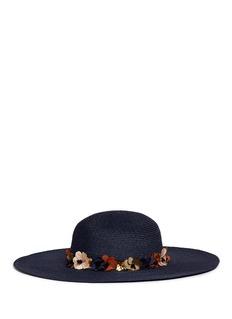 My BobFloral appliqué straw capeline hat