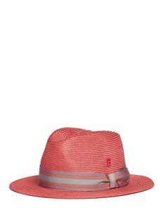 My Bob'Folco' stripe ribbon band straw fedora hat