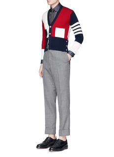 Thom Browne Colourblock stripe sleeve cashmere cardigan