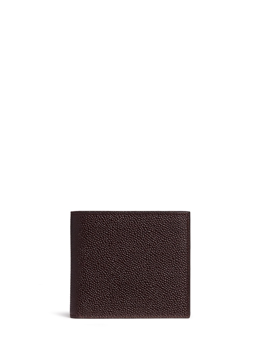 Pebble grain leather bifold wallet by Thom Browne