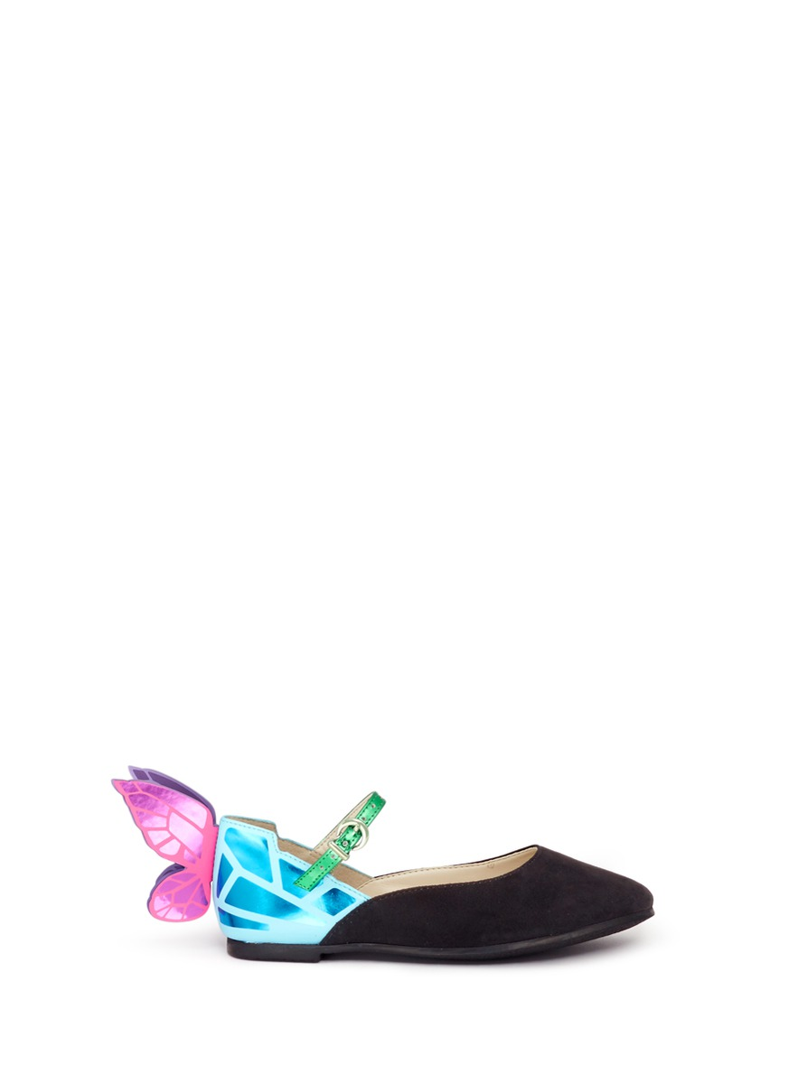 Chiara Mini butterfly suede toddler Mary Jane flats by Sophia Webster