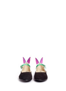 Sophia Webster 'Chiara Mini' butterfly suede toddler Mary Jane flats