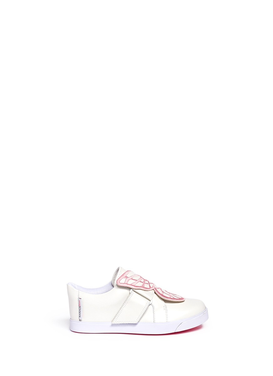 Bibi Low Top Mini butterfly leather toddler sneakers by Sophia Webster