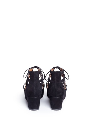 Back View - Click To Enlarge - Aquazzura - 'Beverly Hills 55' caged suede platform sandals