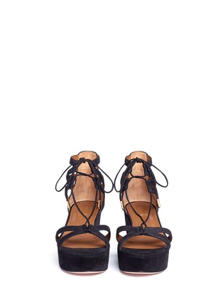 Front View - Click To Enlarge - Aquazzura - 'Beverly Hills 55' caged suede platform sandals