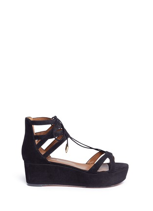 Main View - Click To Enlarge - Aquazzura - 'Beverly Hills 55' caged suede platform sandals