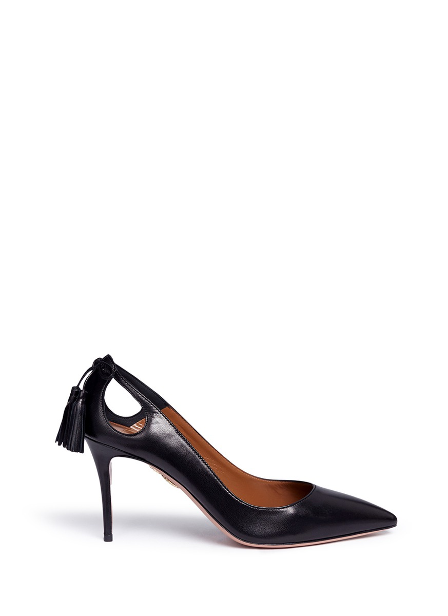Forever Marilyn 85 tassel bow leather pumps by Aquazzura