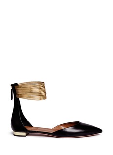 Aquazzura 'Hello Lover' metallic anklet leather flats