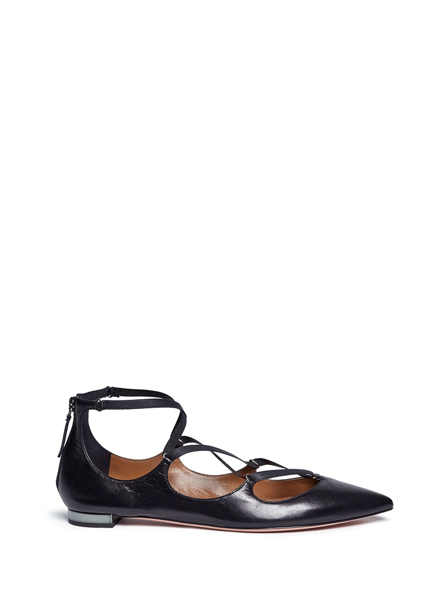 Mischa caged strap leather flats by Aquazzura