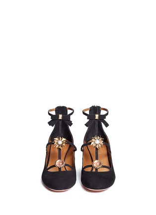 Front View - Click To Enlarge - Aquazzura - 'Pandora' embellished caged suede pumps
