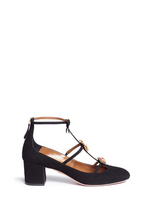Main View - Click To Enlarge - Aquazzura - 'Pandora' embellished caged suede pumps