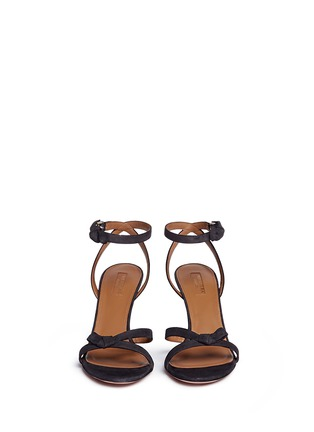 Front View - Click To Enlarge - Aquazzura - 'Passion' knotted bow suede sandals