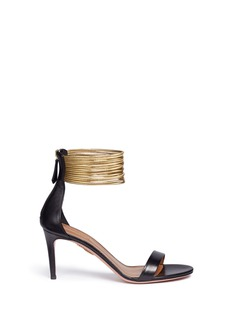 Aquazzura'Spin Me Around 75' metallic anklet leather sandals