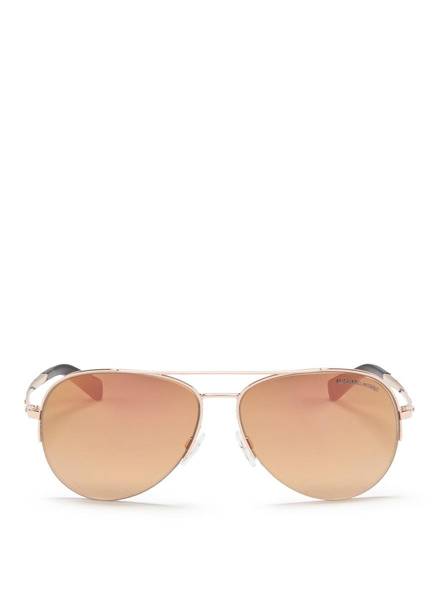 michael kors female gramercy aviator mirror sunglasses