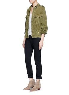 CURRENT/ELLIOTTDistressed denim military jacket