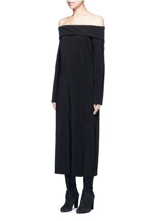 Front View - Click To Enlarge - Lanvin - Fold off-shoulder twill dress