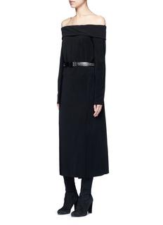 LanvinFold off-shoulder twill dress