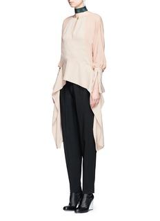 LanvinSilk sleeve combo drape top