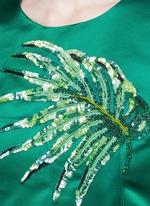 Leaf embellished silk duchesse satin dress