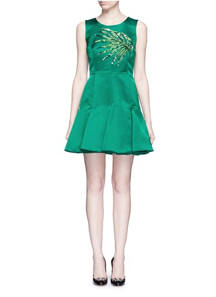 Main View - Click To Enlarge - Dolce & Gabbana - Leaf embellished silk duchesse satin dress