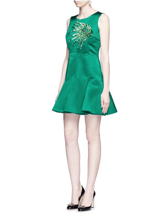 Figure View - Click To Enlarge - Dolce & Gabbana - Leaf embellished silk duchesse satin dress