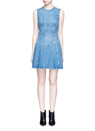 Main View - Click To Enlarge - Alexander McQueen - Dark wash denim dress