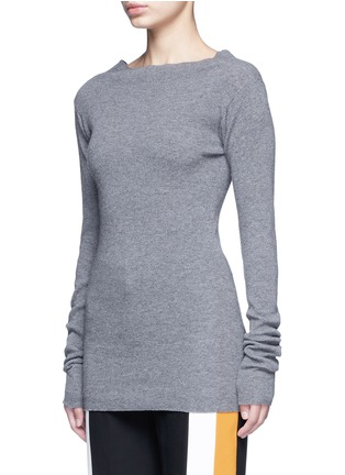 Front View - Click To Enlarge - Stella McCartney - Off-shoulder rib knit wool sweater